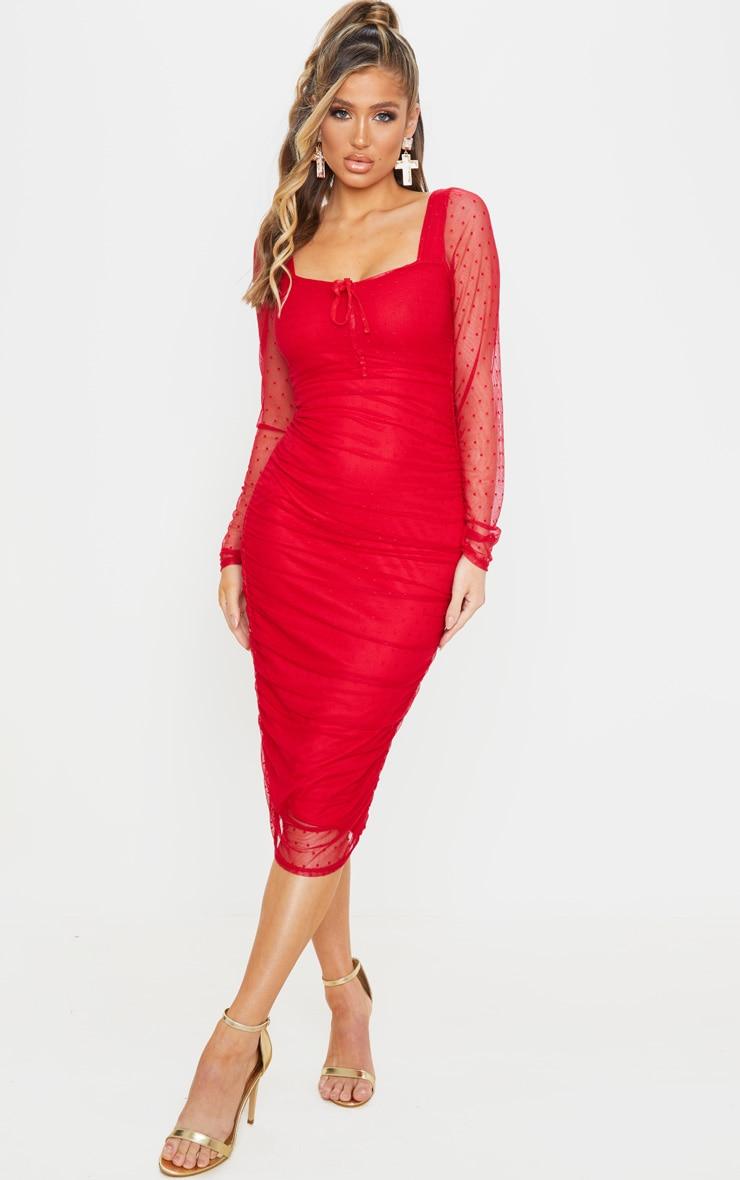 Red Dobby Mesh Ruched Long Sleeve Midi Dress 1