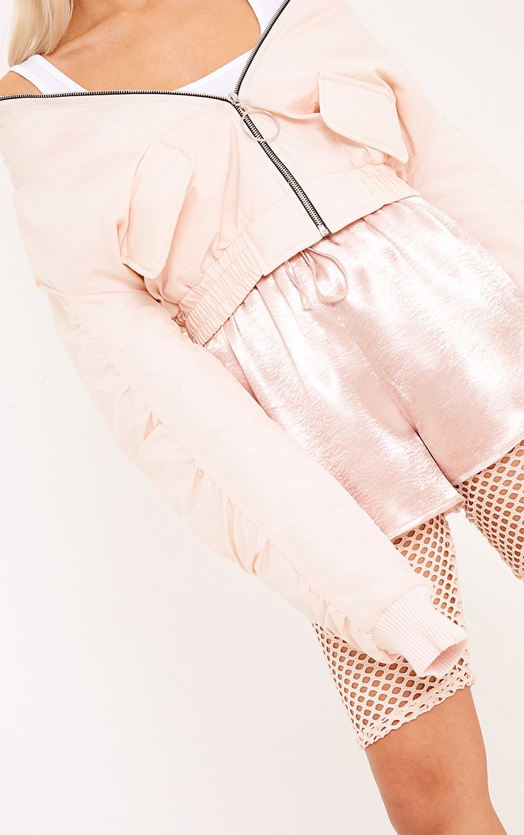 Deserae Nude Cropped Statement Zip Pull Bomber Jacket 5