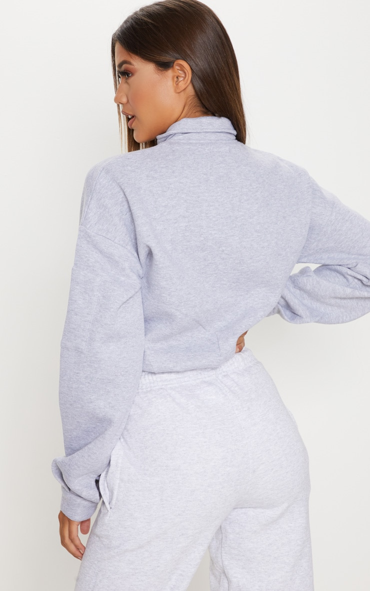 Grey Oversized Zip Front Sweater 2