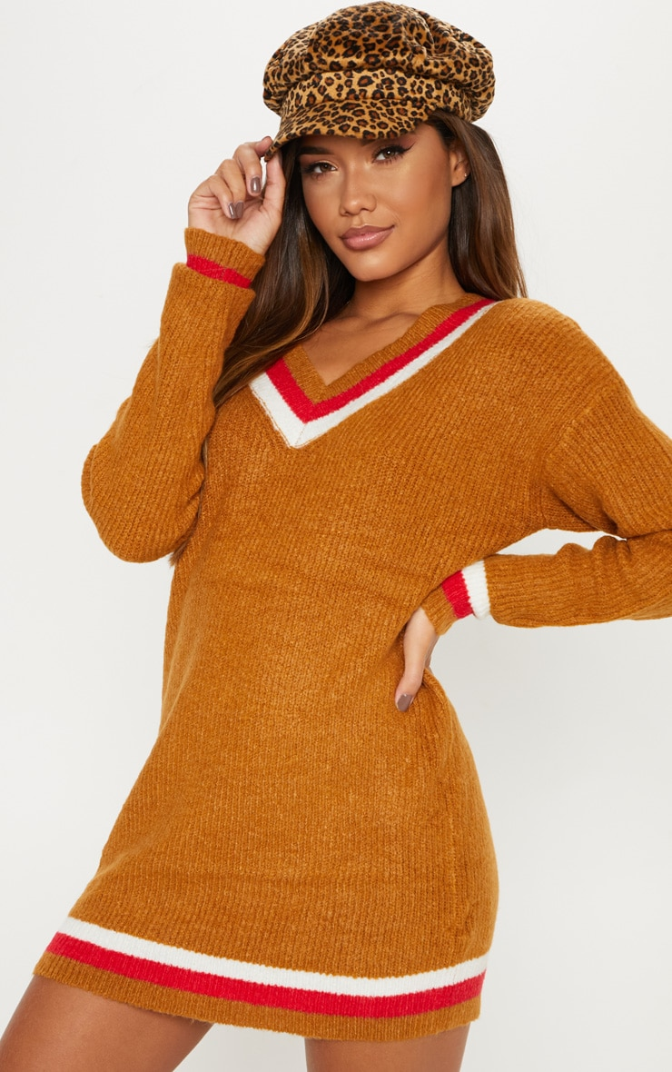 Brown V Neck Contrast Stripe Jumper Dress