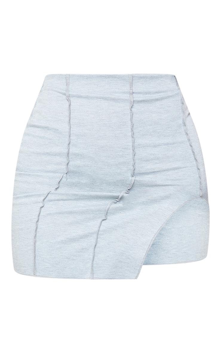 Shape Grey Overlock Seam Detail Bodycon Skirt 5