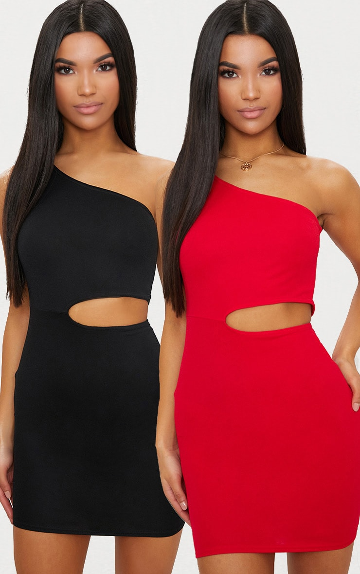 Black & Red 2 Pack One Shoulder Cut Out Bodycon Dress 2