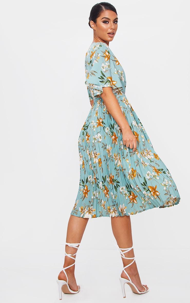 فستان ميدي أخضر مائل للرمادي بنقشة زهور بكسرات 2