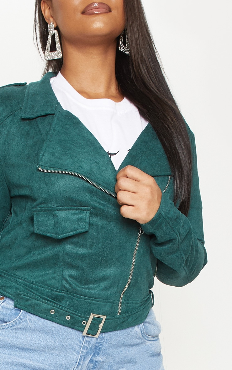 Plus Emerald Green Faux Suede Biker Jacket 5