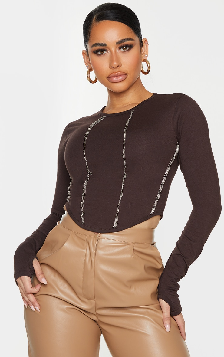 Shape Chocolate Brown Contrast Seam Detail Curved Hem Crop Top 1