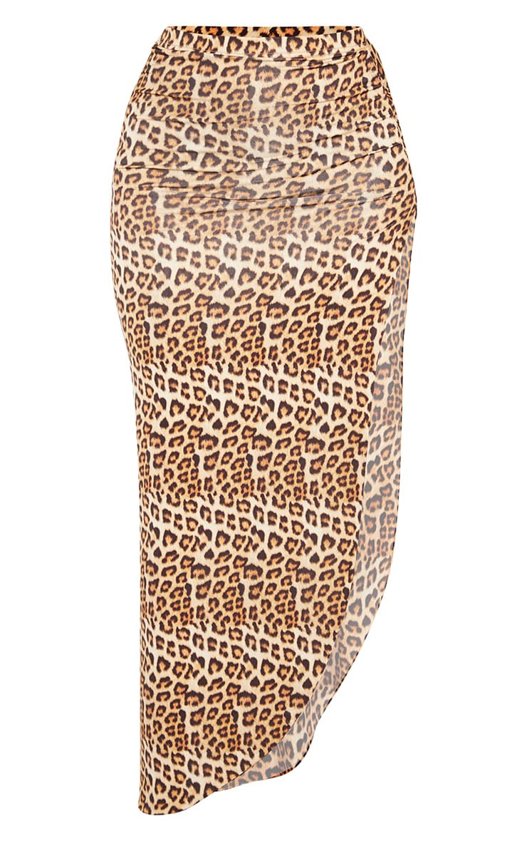 Tan Leopard Print Ruched Side Split Maxi Skirt 3