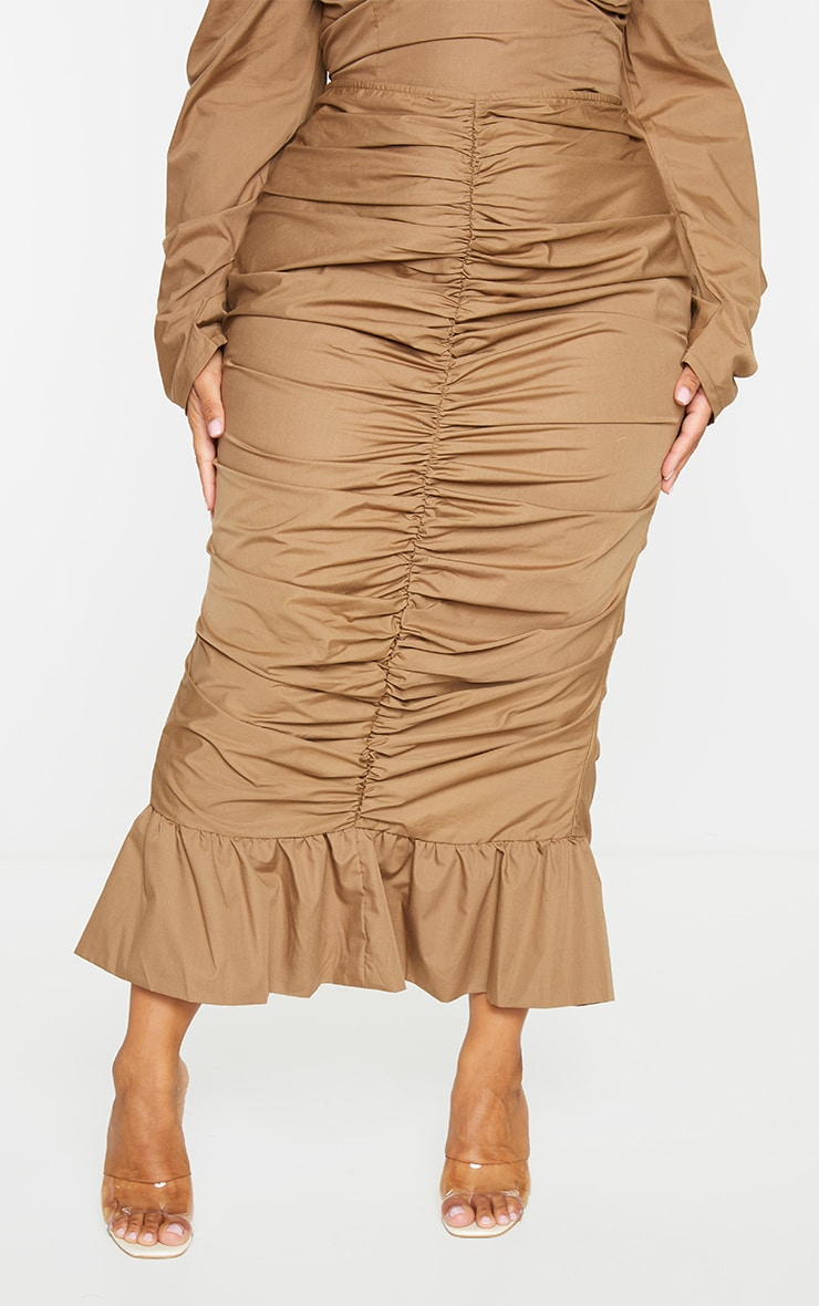 Plus Camel Woven Ruched Frill Hem Midi Skirt 2
