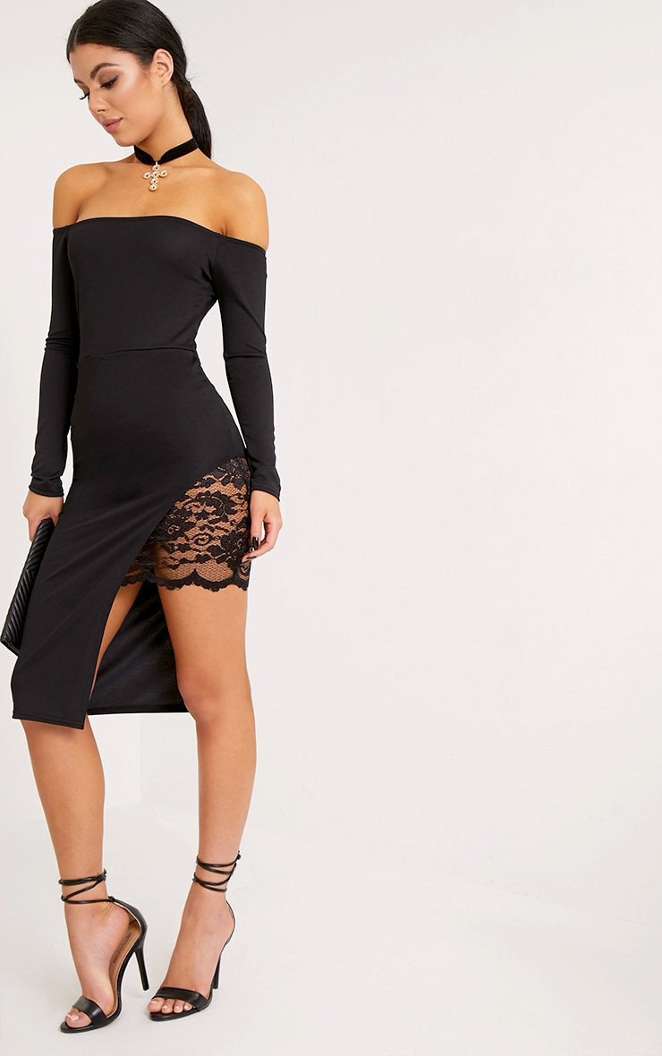 Florrie Black Bardot Lace Panel Midi Dress 1