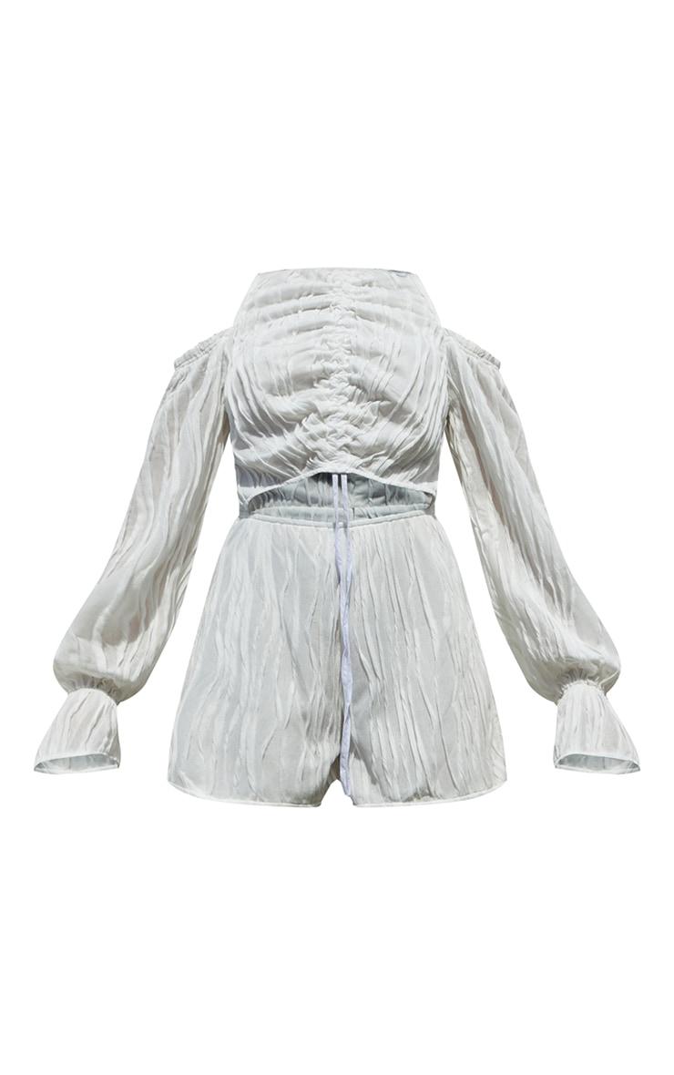 White Crinkle Ruched Cold Shoulder Playsuit 5