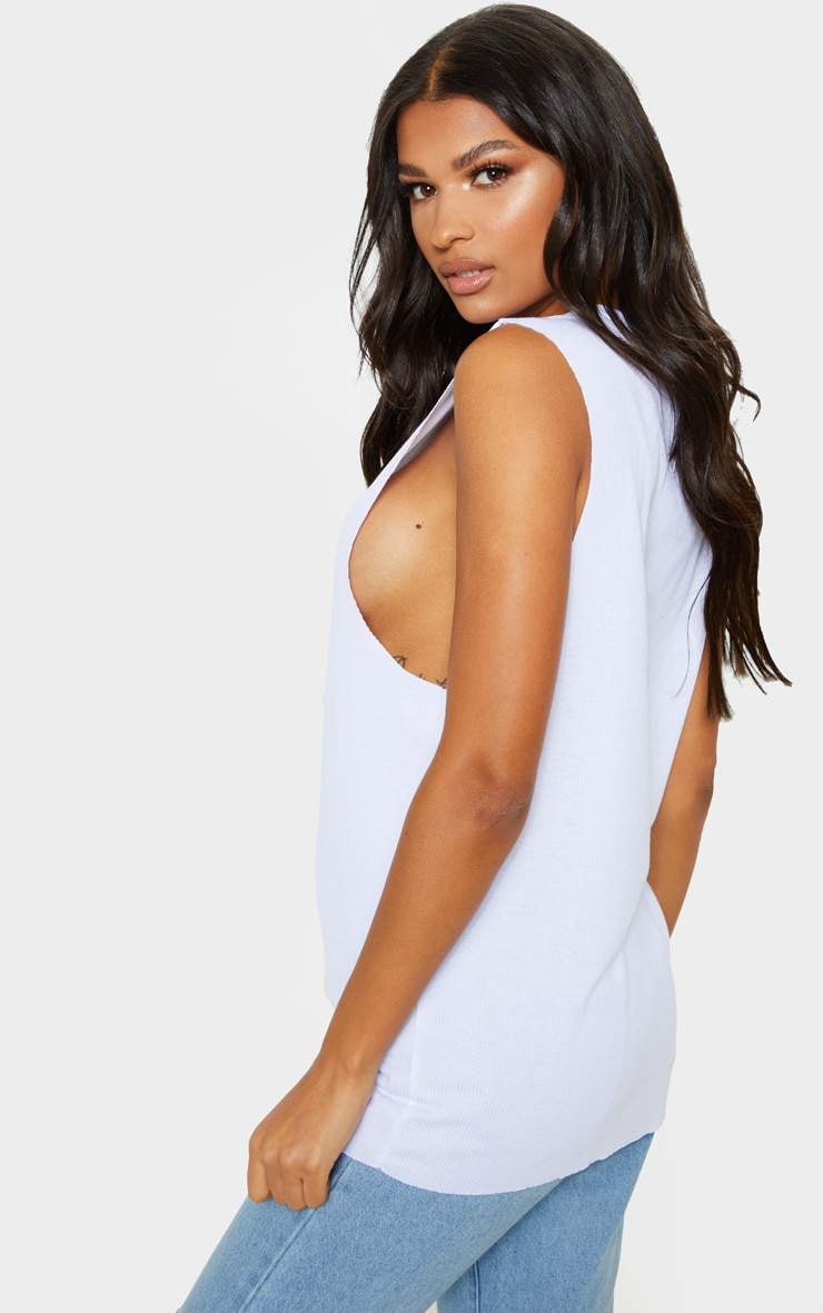 White Soft Rib Oversized Casual Vest 2