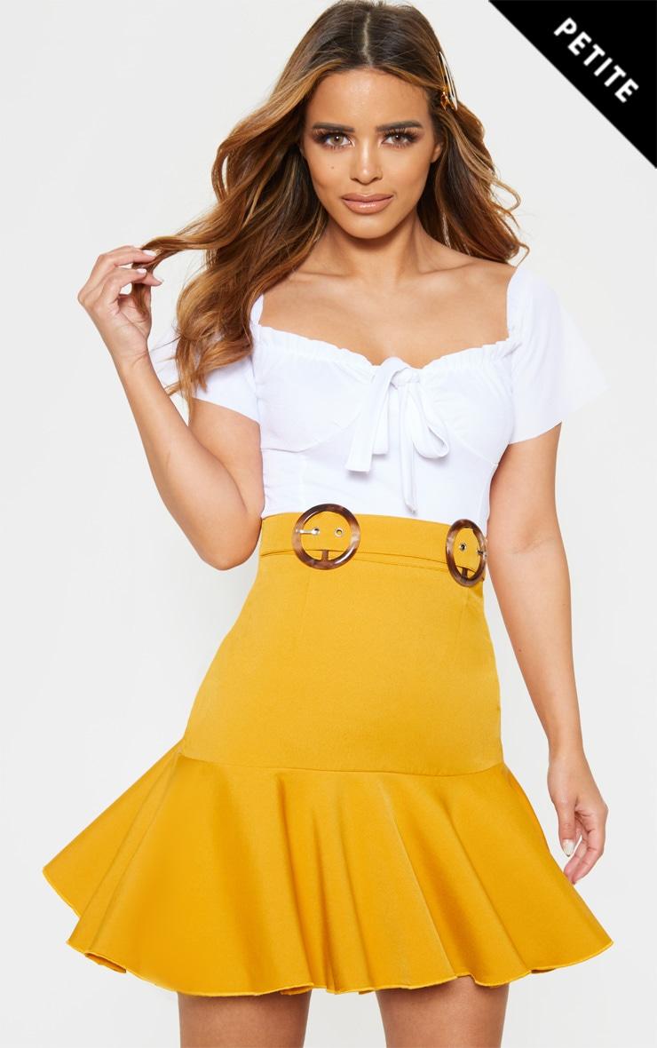 Petite Mustard Peplum Hem Tortoise Belt Skirt 1