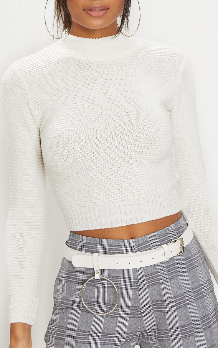 Cream Ribbed Cropped Knitted Sweater  5