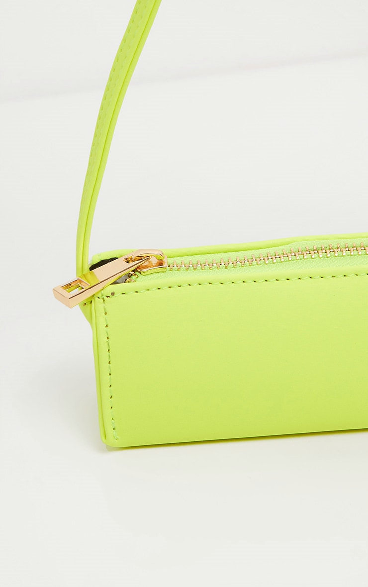 Neon Lime PU Thin Baguette Bag  3