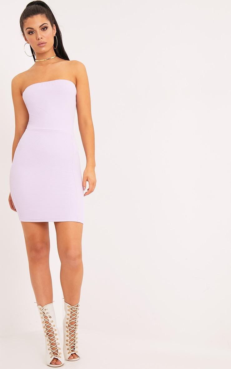 Loriella Lilac Textured Bandeau Bodycon Dress 4