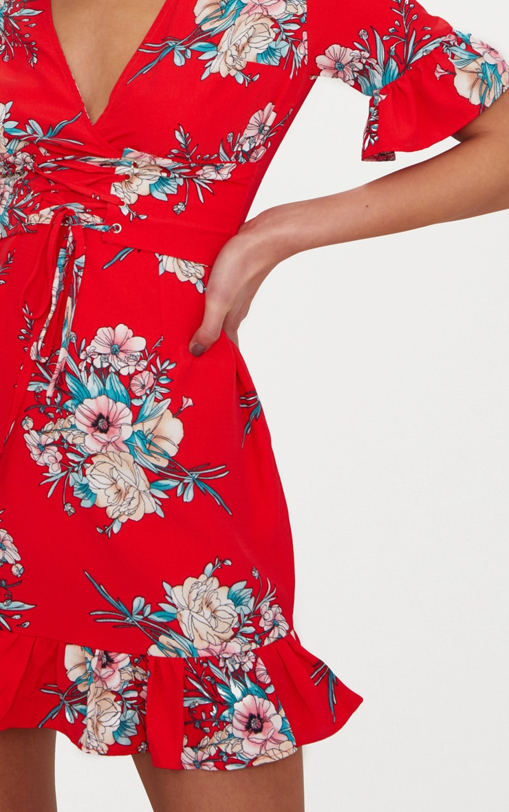 Red Floral Corset Swing Dress 5