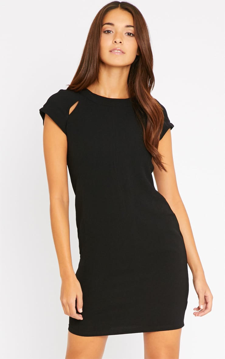Hannah Black Waffle Shift Dress 1