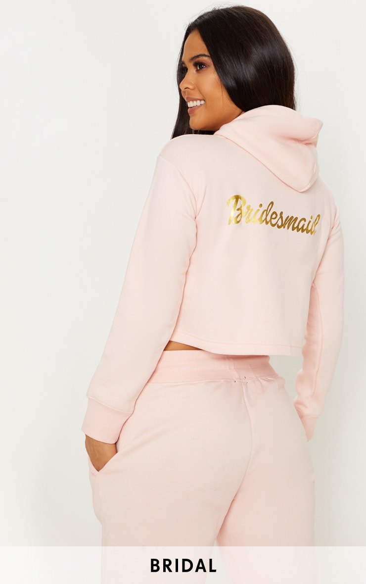 Blush Bridesmaid Slogan Cropped Hoodie