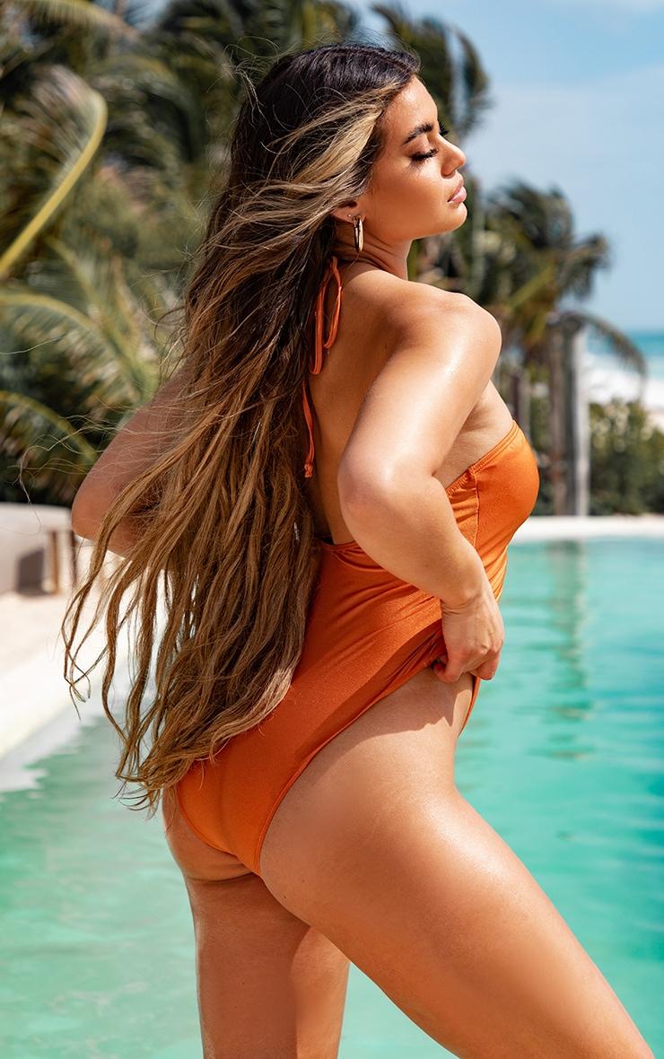 Orange Scoop Neck Ruched Swimsuit 4