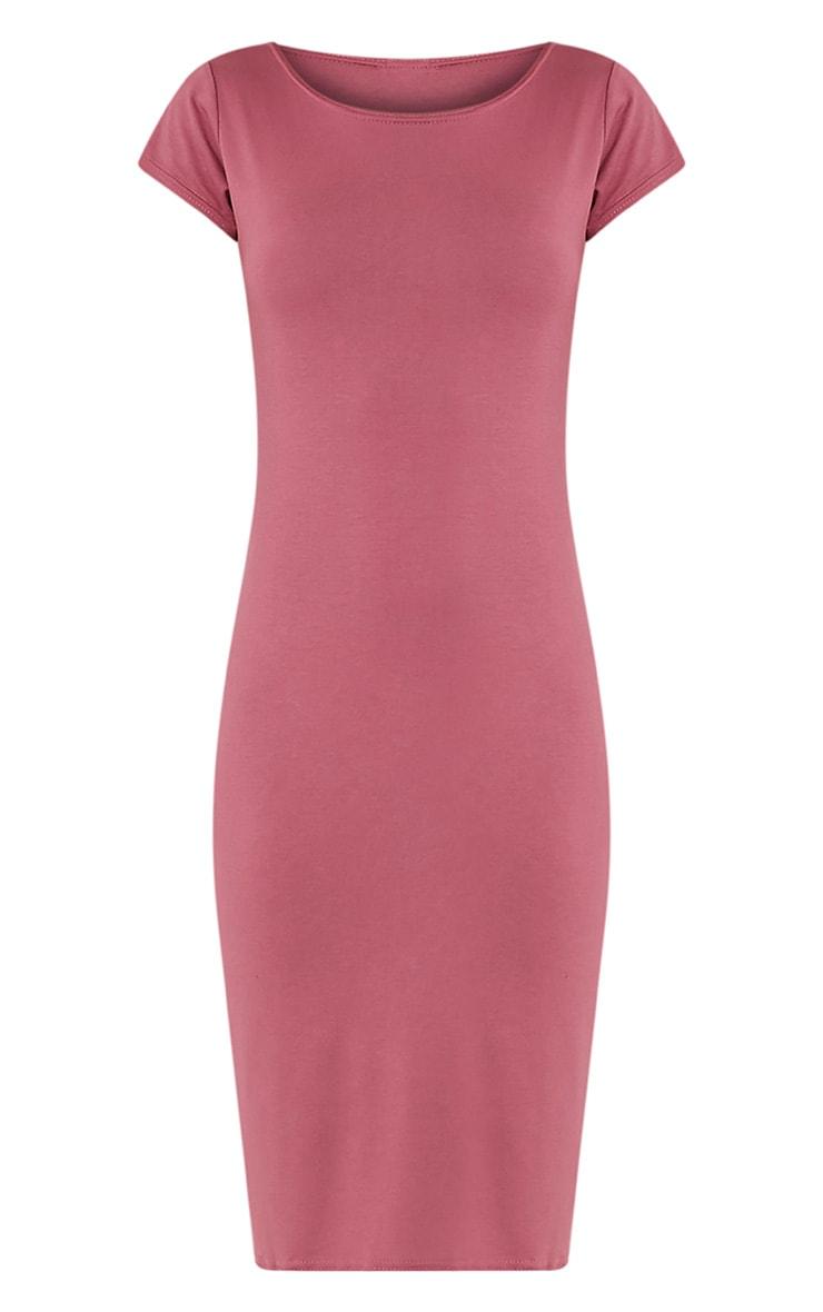 Basic Rose Capped Sleeve Midi Dress 3