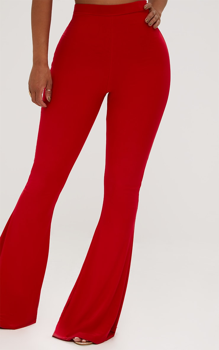Shape Red Slinky Flared Leg Trousers 5