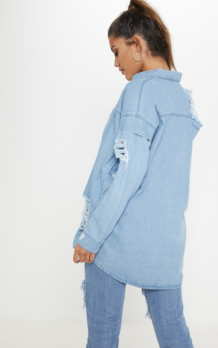Light Wash Oversized Denim Shirt 2