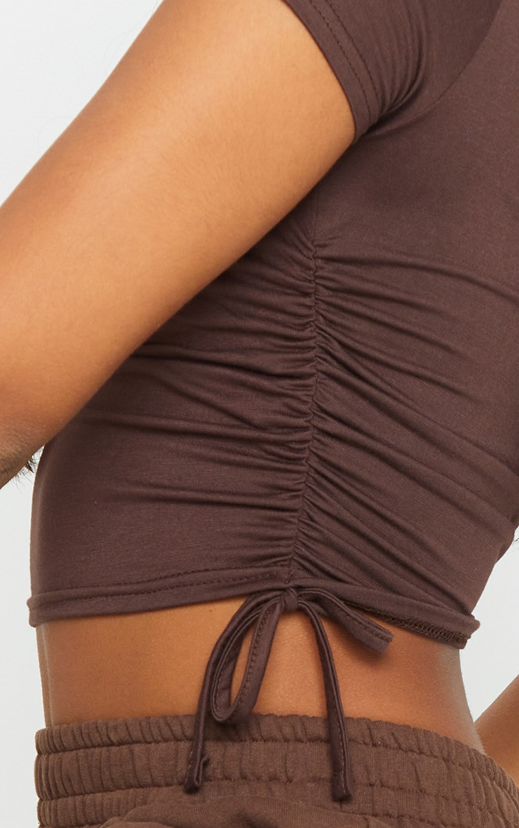 Chocolate Jersey V Neck Ruched Side T Shirt 4