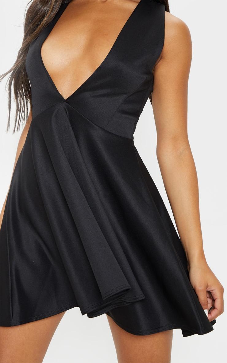 Black Plunge Skater Dress 4