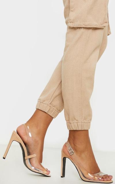 Nude Wide Fit Square Toe Flat Heel Slingback Sandal