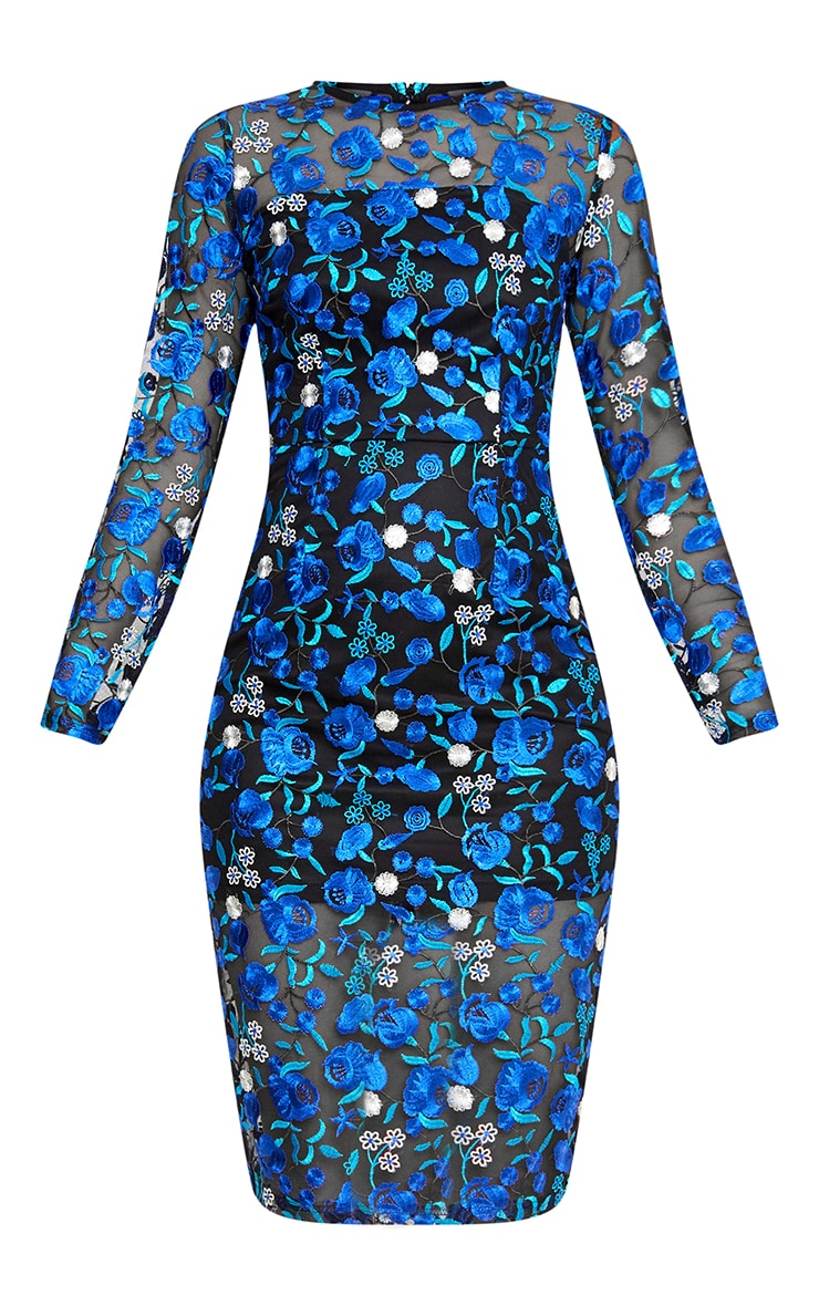 Blue Embroidered Floral Sheer Lace Midi Dress 3