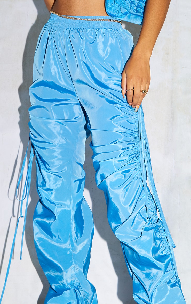 Sky Blue Shell Ruched Leg Joggers 4
