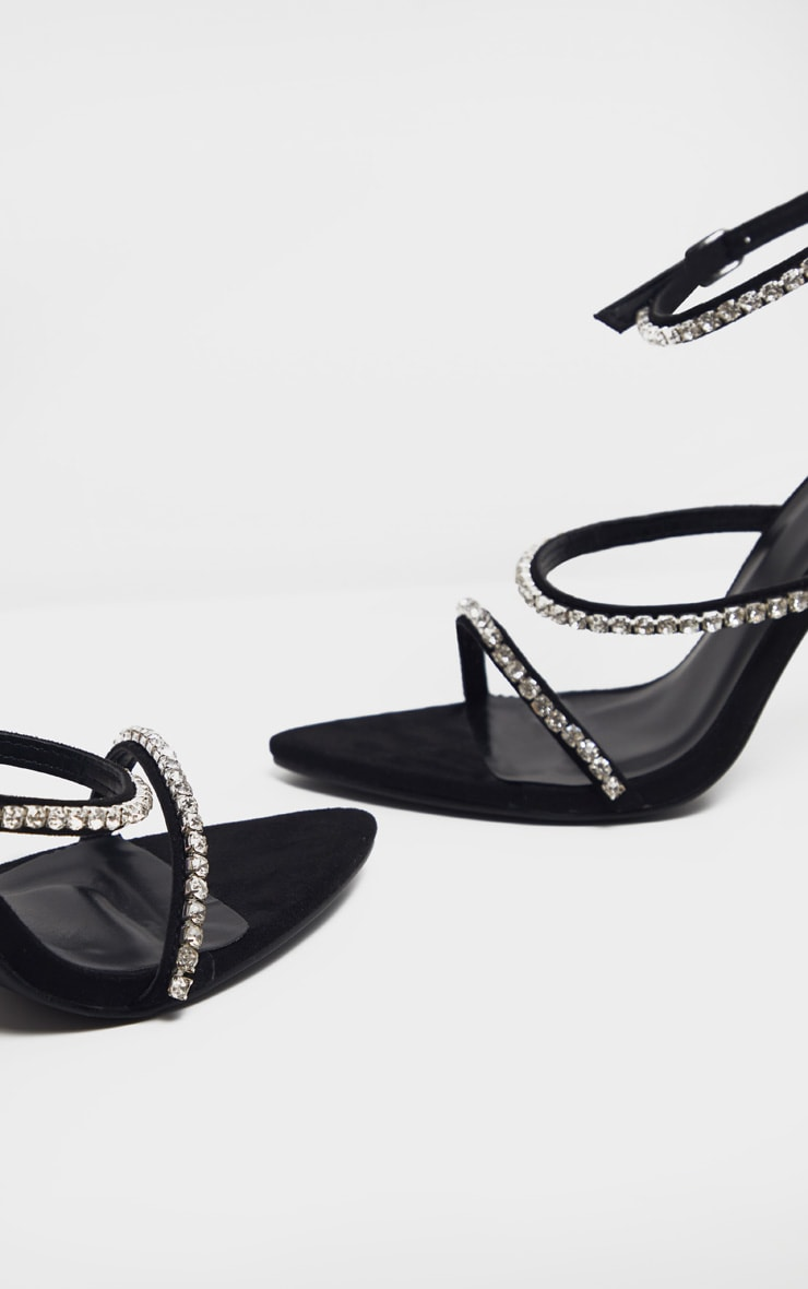 Black Triple Strap Diamante Sandal 5