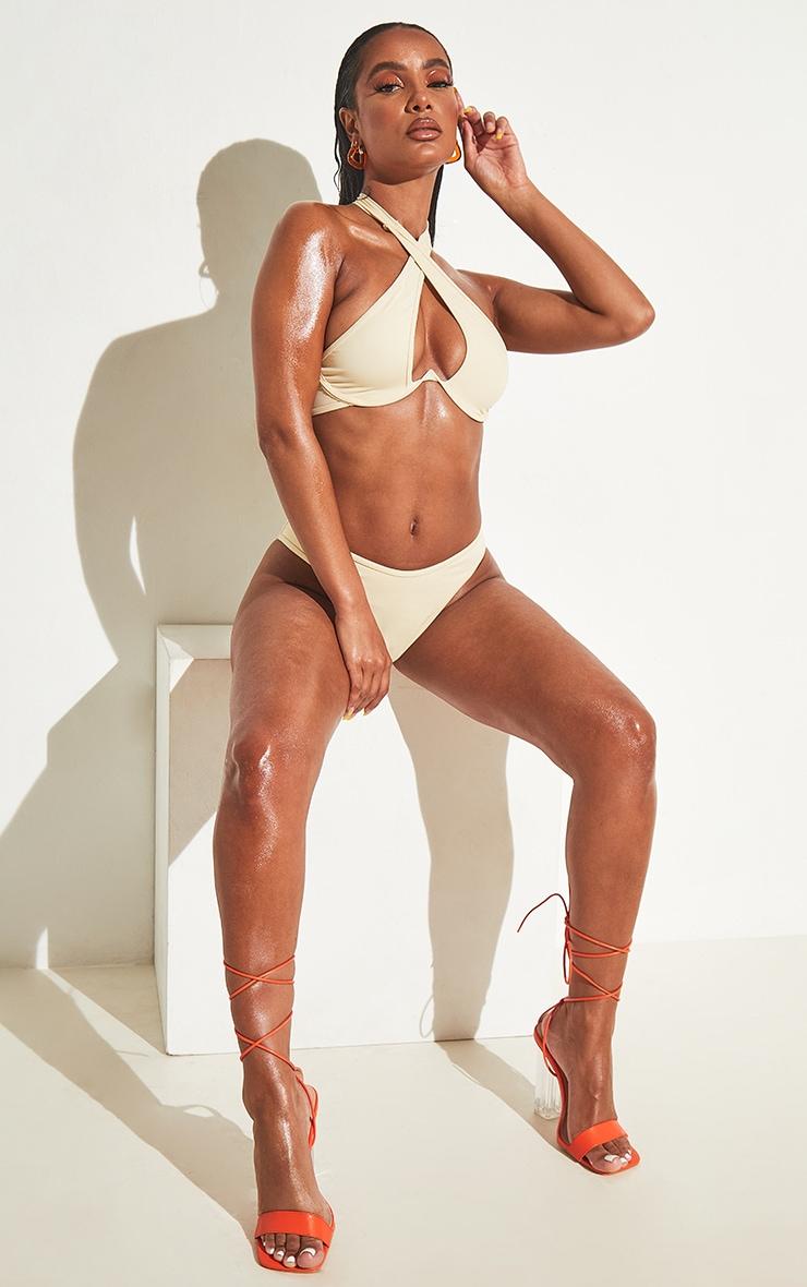 Cream Underwire Cross Front Bikini Top 3