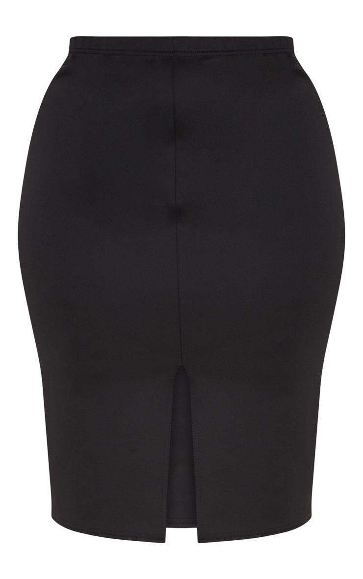 Plus Black Side Split Midi Skirt 3