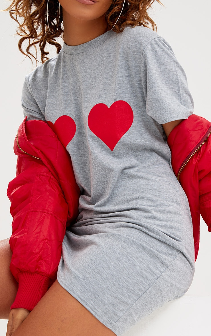 Grey Heart Printed T Shirt Dress 5