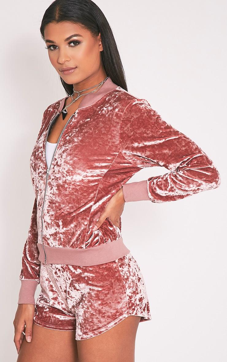 Ayisha Bomber en velours frappé rose 5
