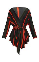 3311206fadab0 Khaki Bold Stripe Tie Waist Blouse image 3