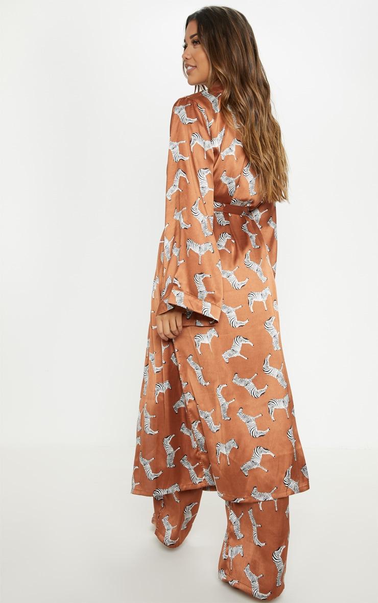 Rust Zebra Print Long Sleeve Satin Robe 2