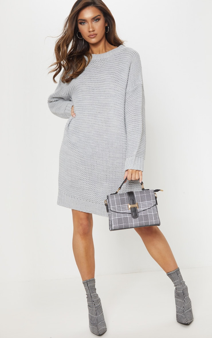 Grey Chunky Knitted Jumper Dress 1