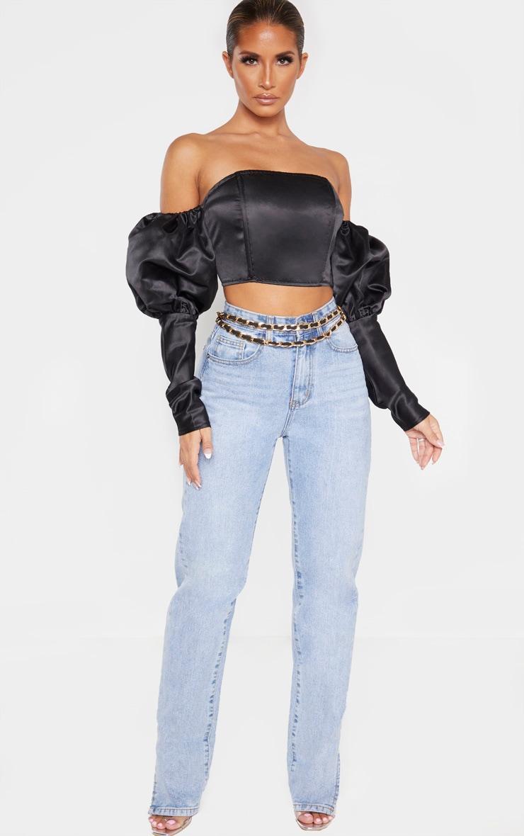 Black Satin Bardot Puff Sleeve Crop Top  4