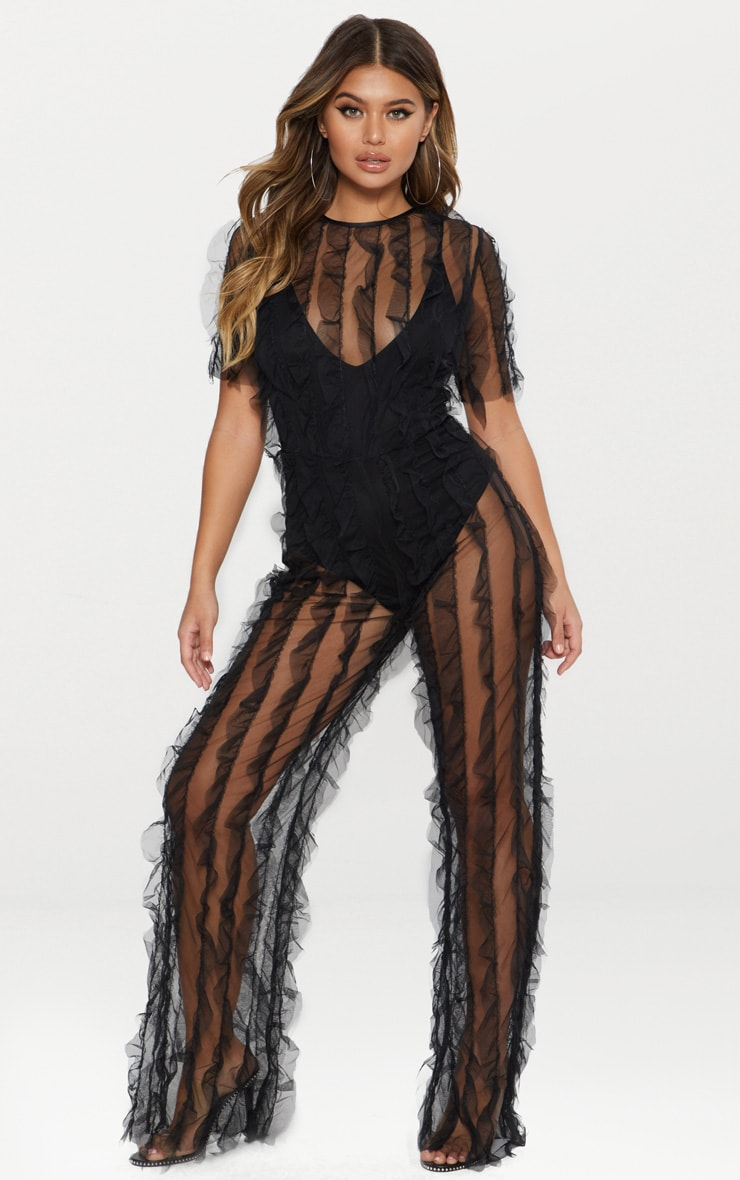 Black Sheer Organza Frill Jumpsuit