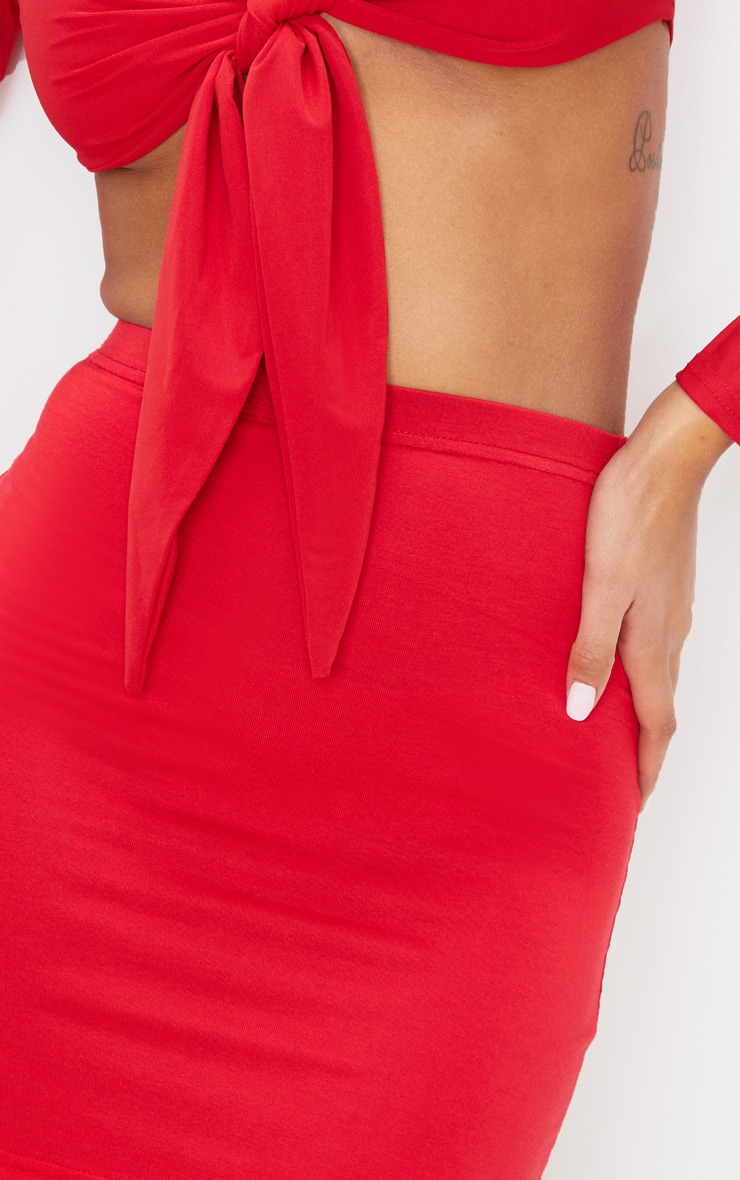 Basic Jersey Red Mini Skirt 5