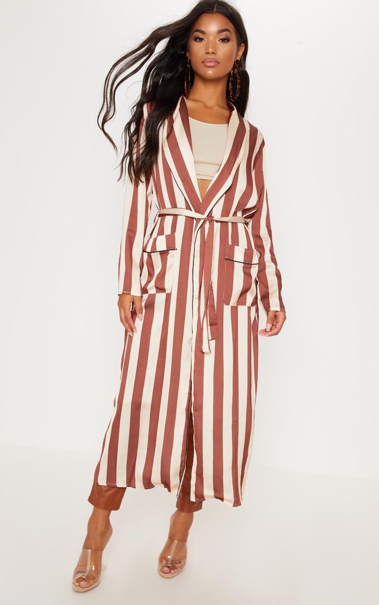 Rust Longline Stripe Kimono