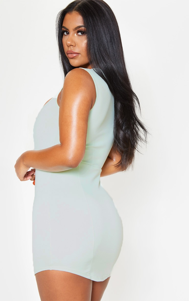 Sage Green Square Neck Sleeveless Bodycon Dress 2
