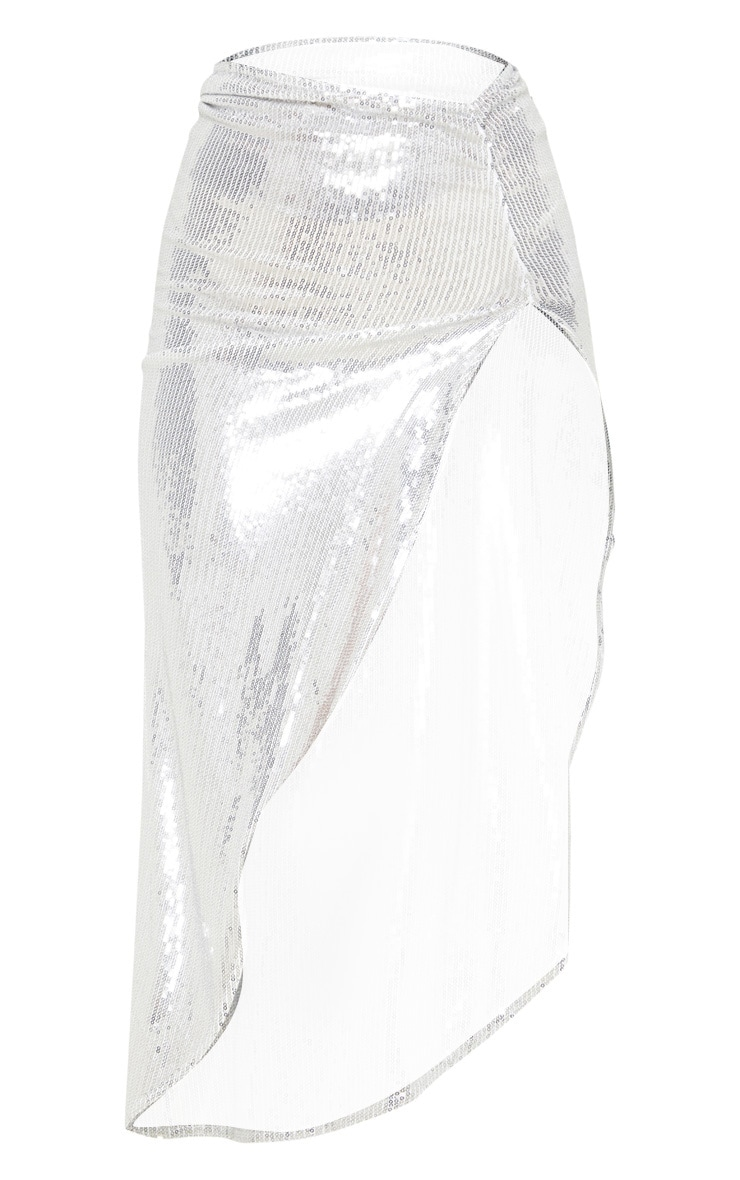 Silver Ruched Sequin Side Split Skirt 3