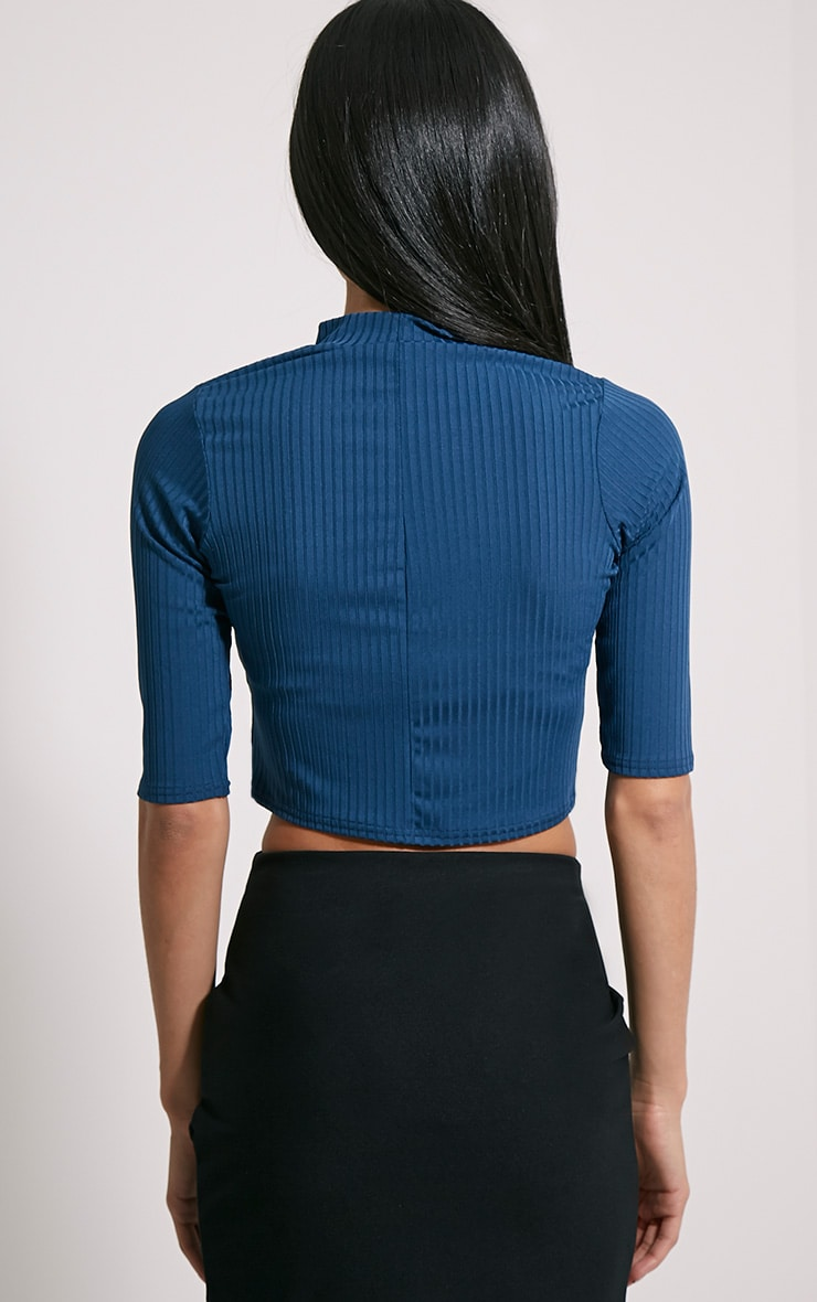 Claire Teal Ribbed Cut Out Crop Top 2
