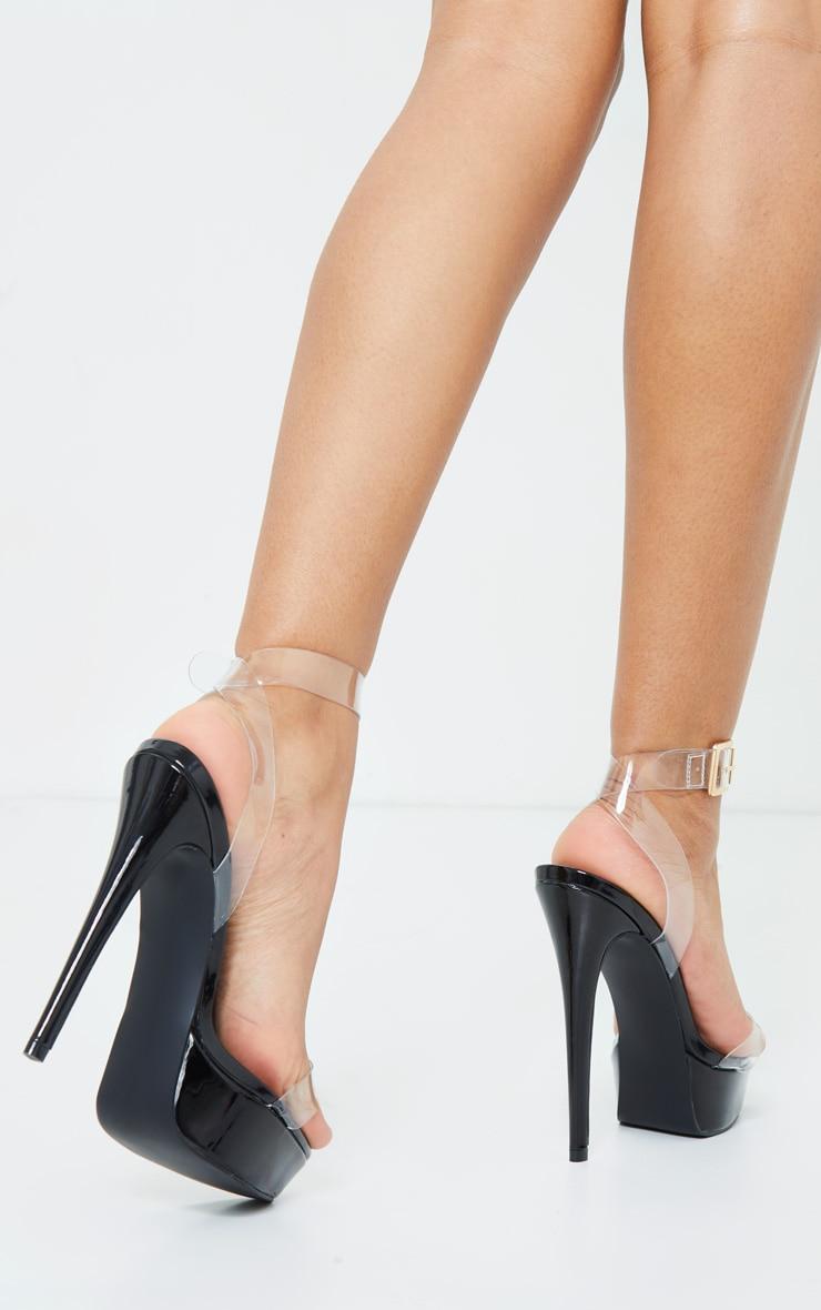 Black Patent Pu Platform Clear Strap High Heels 2