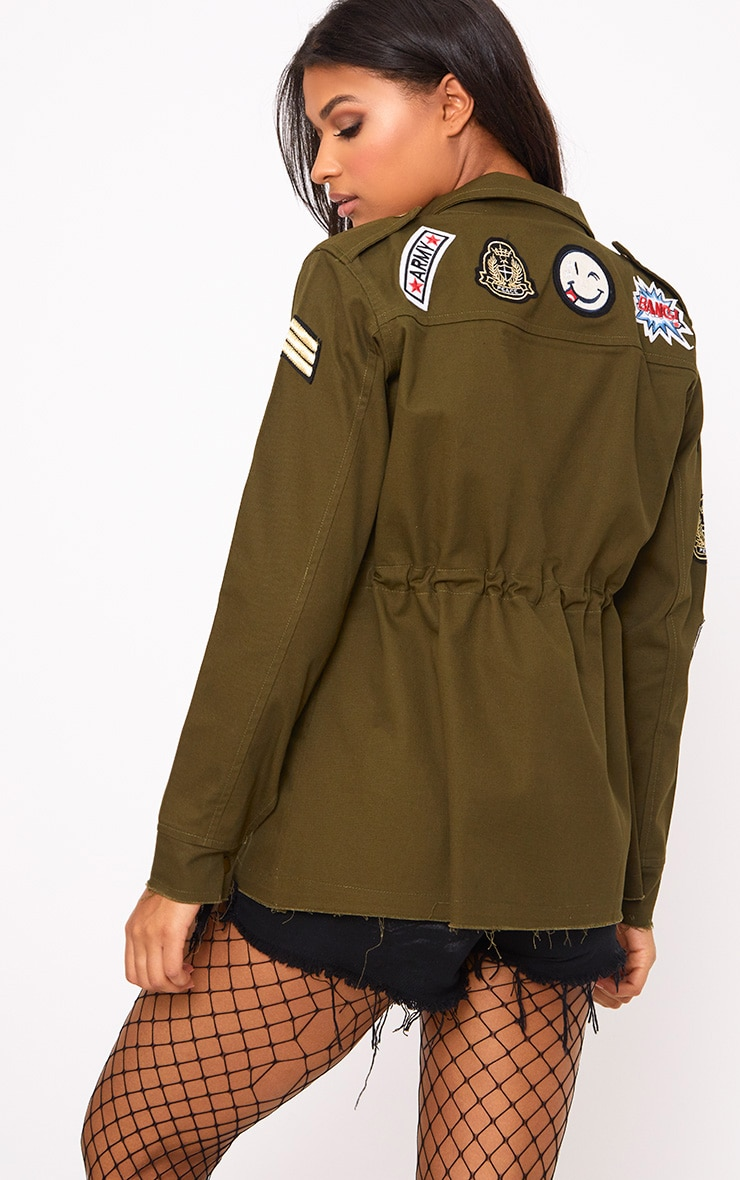 Khaki Badge Detail Utility Jacket 2
