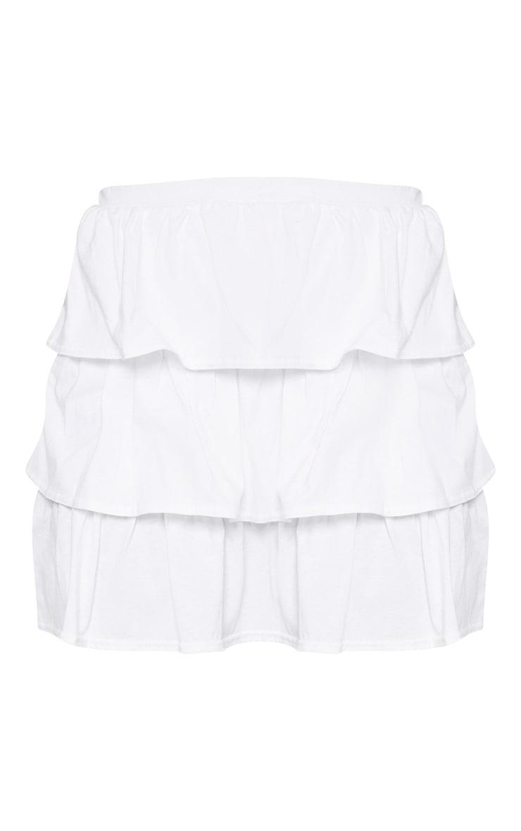 White Cotton Frill Mini Skirt 3