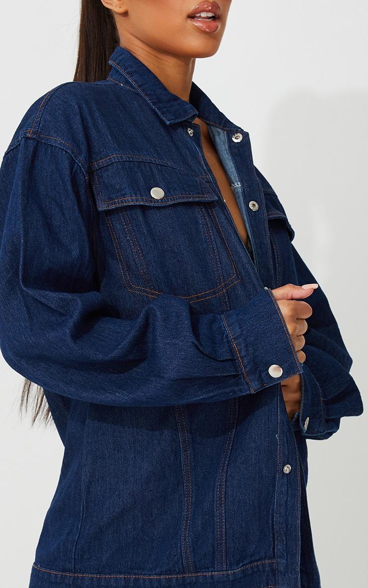 Dark Blue Wash Oversized Denim Jacket 4