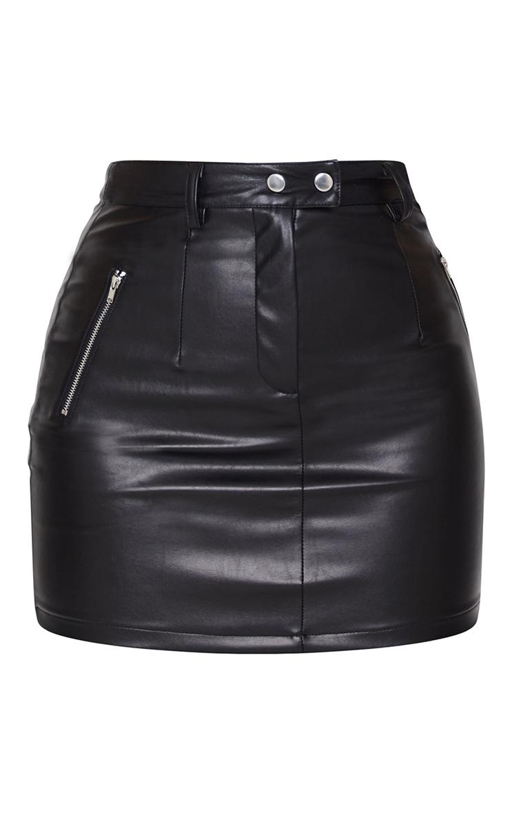 Black PU Bodycon Mini Skirt 6